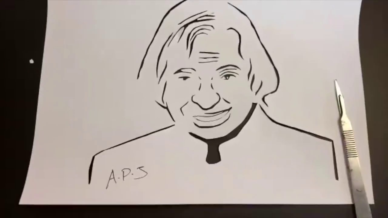 Abdul Kalam Drawing Easy Step By Step