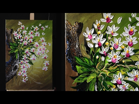 Orchids flowers with a palette knife