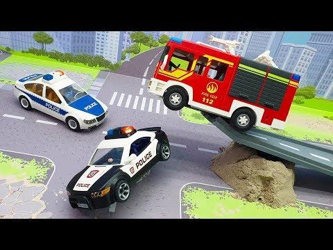 Видео про полицейские и пожарные машины - Злодеи в бетоне! Самые новые истории с машинами 2020.