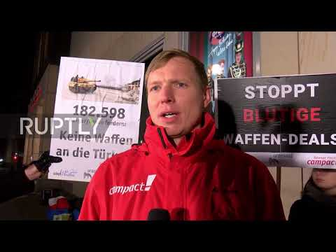 Germany: Anti-arms trade protesters stage 'die-in' outside coalition talks meeting
