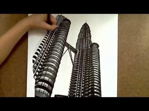 Realistic Drawing Petronas Twin Towers Youtube