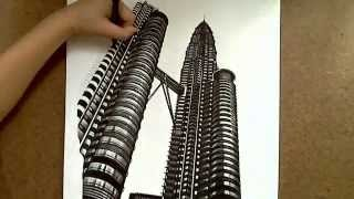 Realistic Drawing: Petronas Twin Towers