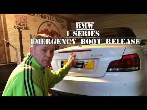 BMW 1 SERIES CABRIOLET EMERGENCY BOOT RELEASE, keys locked in boot