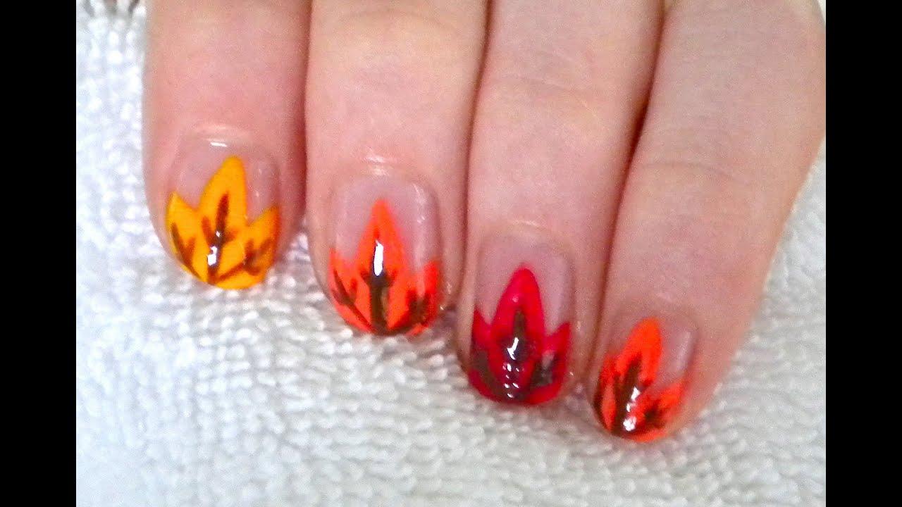 Fall Leaves Nail Design YouTube - Nail Art Design Ideas ...