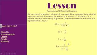 Applications of Differential Equations Part II