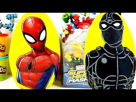 Giant Black Spiderman and Spidey Play Doh Surprise Eggs Compilation Learn Toy