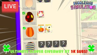LIVE: Bubble Gum Simulator - Giveaway Every 5 Subs + Ultimate Clover Giveaway at 1K Subs!