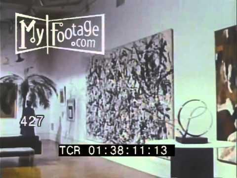 Stock Footage - 1960s METROPOLITAN MUSEUM OF ART: MODERN ART GALLERY - JACKSON POLLOCK, MORE