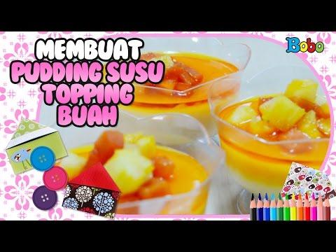 kreatif---tutorial-cara-membuat-pudding-susu-topping-buah---diy---resep