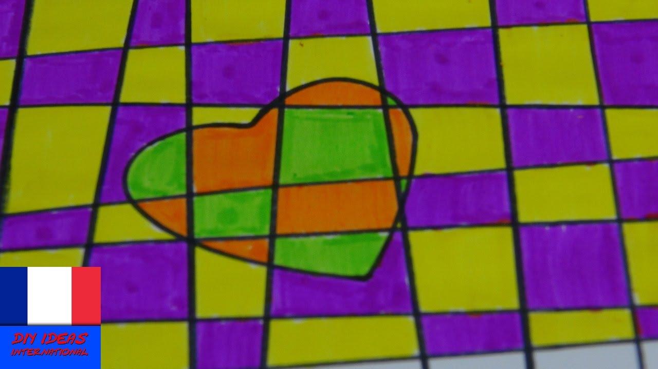 Diy c ur en dessin avec des motifs carreaux apprendre - Dessin avec des coeurs ...