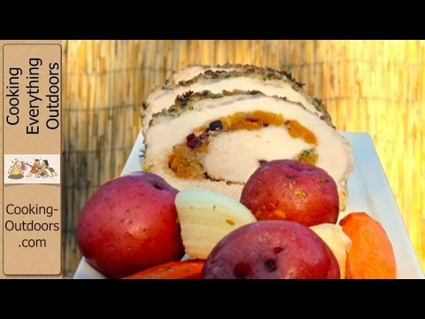Grilling Stuffed Pork Loin in a Cedar Plank Tray with Vegetables Recipe