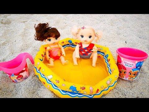 Куклы Пупсики Едут на Пляж в Коляске Играют В Бассейне Закат #Наморе Для детей 108маматв