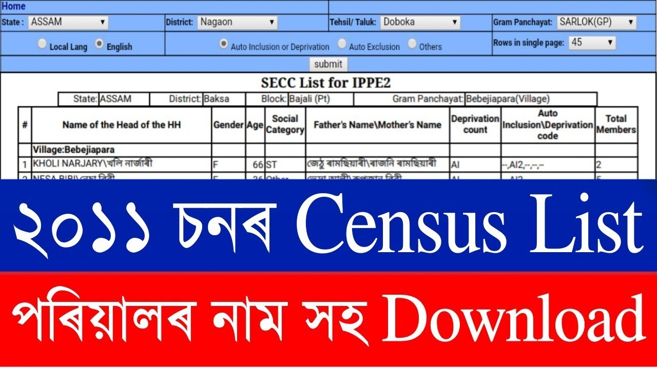 2011 Census List / SECC list 2011 / Download 2011 census list / secc-2011  Assam