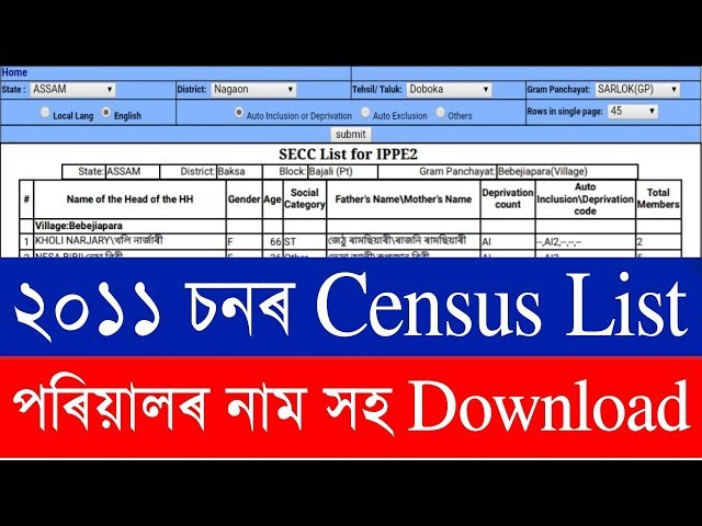 2011 Census List / SECC list 2011 / Download 2011 census