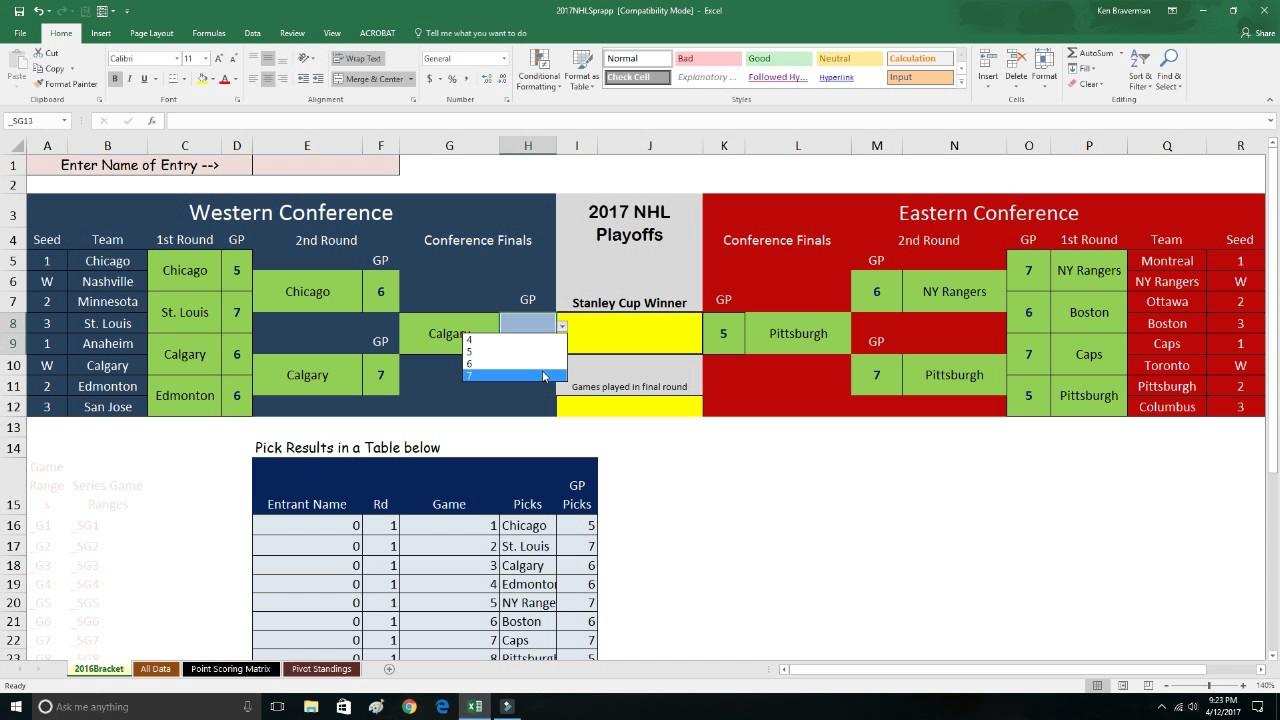 2017 Nhl Playoffs Bracket Sprapp Youtube