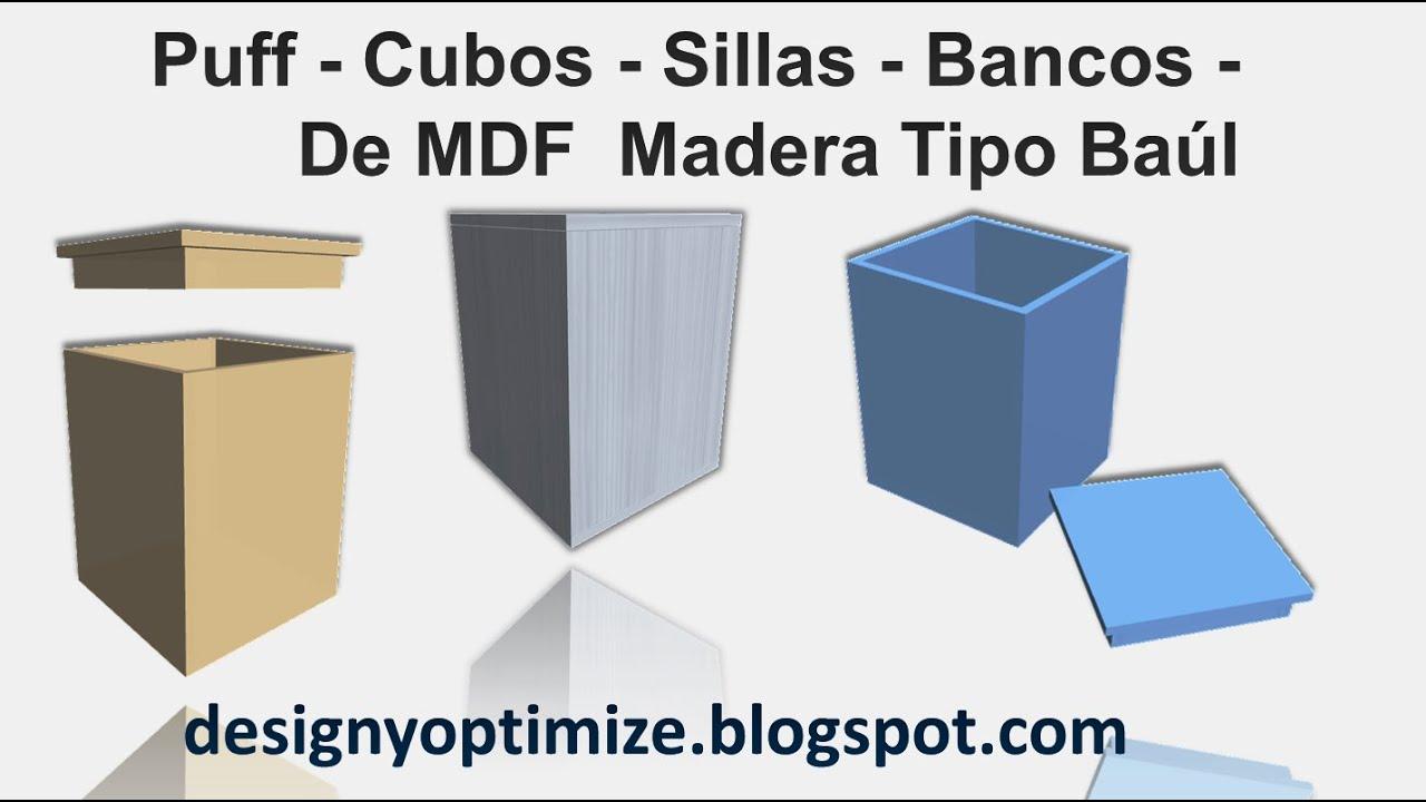 Construir Puff Cubos Sillas Bancos De MDF Madera Tipo Baúl - YouTube