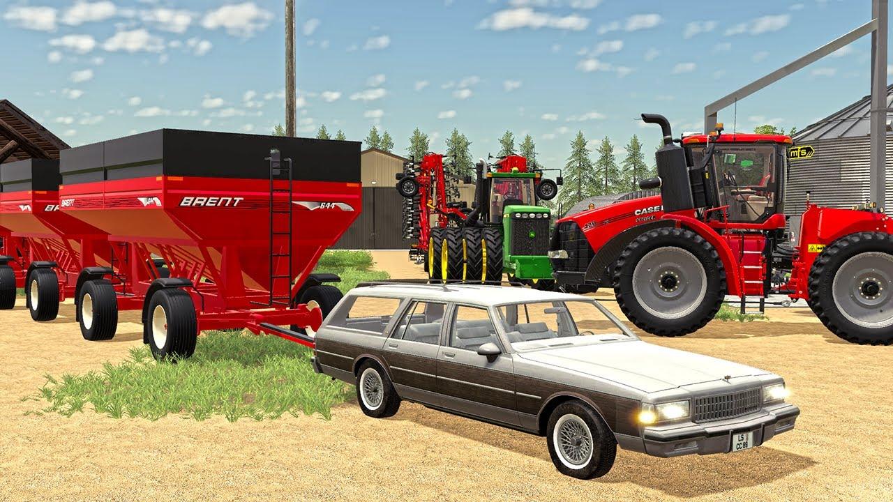 FARMER PULLS MASSIVE GRAVITY WAGONS WITH CAR!   (ROLEPLAY) FARMING SIMULATOR 2019