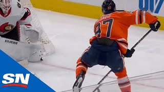 Connor McDavid Makes Insane No-Look Between The Legs Pass On Leon Draisaitl's Hat Trick Goal