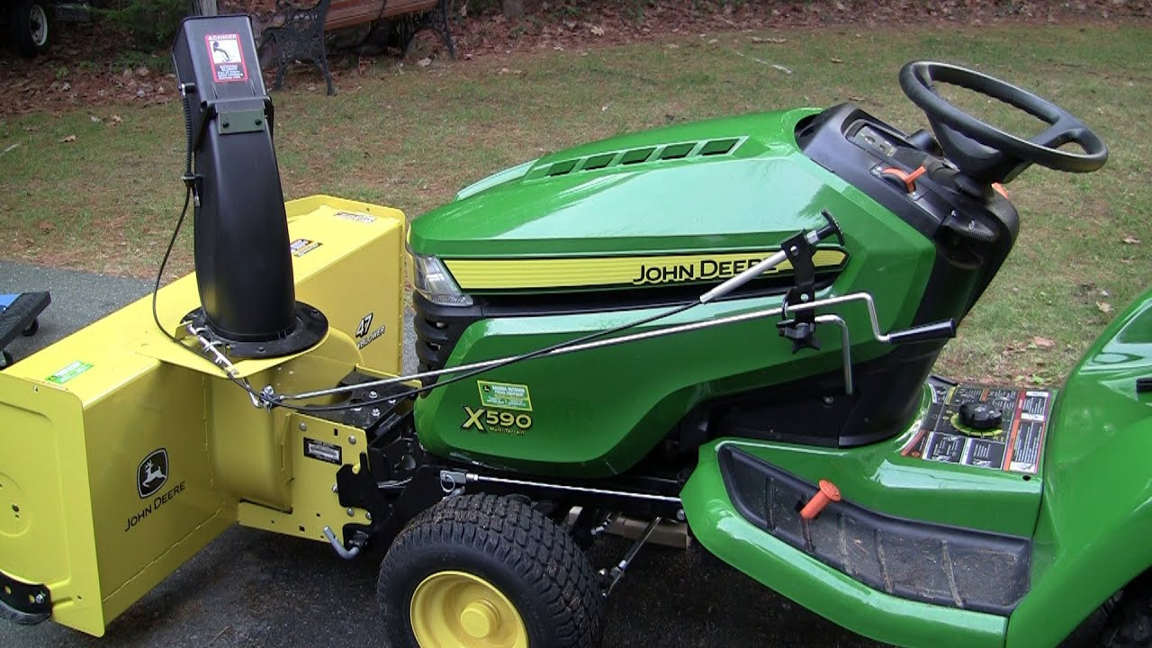 small resolution of john deere 47 snow blower installation on x590 tractor