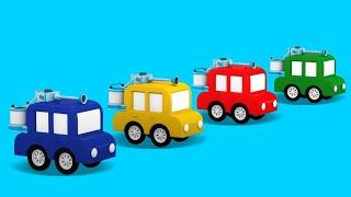 Dessin animé de 4 voitures en français pour enfants: paintball
