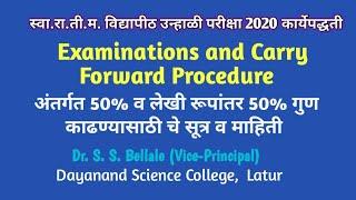 SRTMUN | Examination Procedure Summer 2020 | Carry Forward| Backlog Examination |Dr.S.S.Bellale DSCL