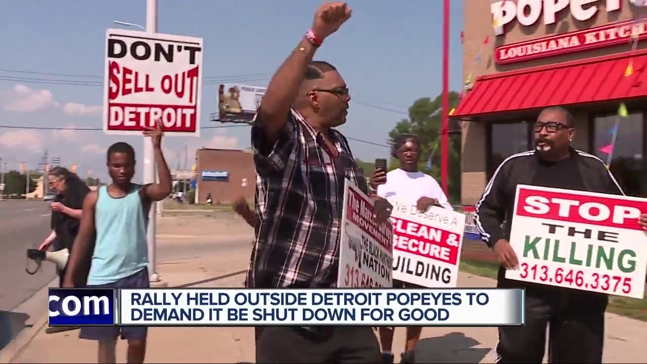 WHEN YOU EAT WHITE 2: Rally held outside Detroit Popeyes to demand it be shut down for good