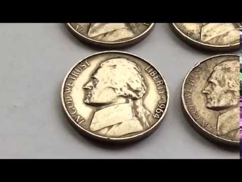 1961.1963.1964.1954 JEFFERSON NICKEL FIVE CENT VARIETIES WORTH MONEY YOU CAN FIND IN YOUR POCKET