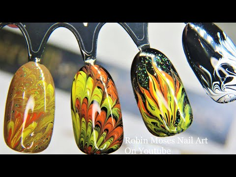 Fall Dragmarble | Autumn No water Marble Nail Art! thumbnail