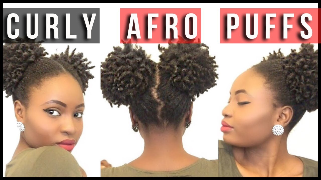 Two Curly Afro Puffs On Natural Hair 4C Feyisetan