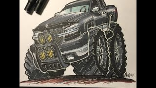 HOW TO DRAW A 4x4 - TIME LAPSE