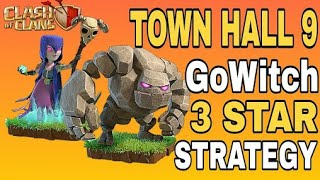 Clash of clans:th9 GOWITCH 3 star strategy with low level hero