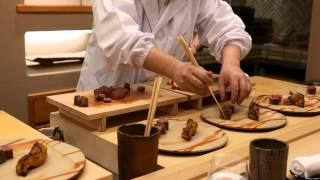 Kaiseki plating at the Michelin star Ginza Kojyu in Tokyo
