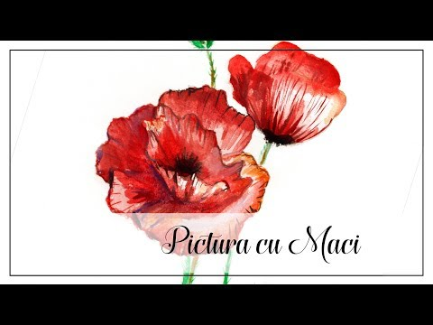 Tutorial Watercolors Painting - How to paint poppy flowers