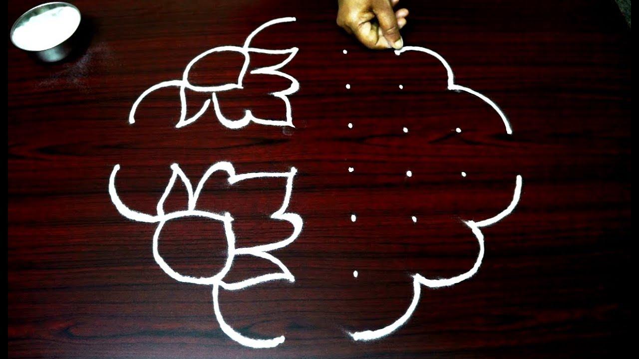 Simple and beautiful rangoli designs with dots chukkala