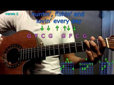 huntin, fishing & loving everyday luke bryan guitar chords