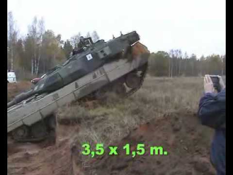How a tank crosses trenches at low and high speeds