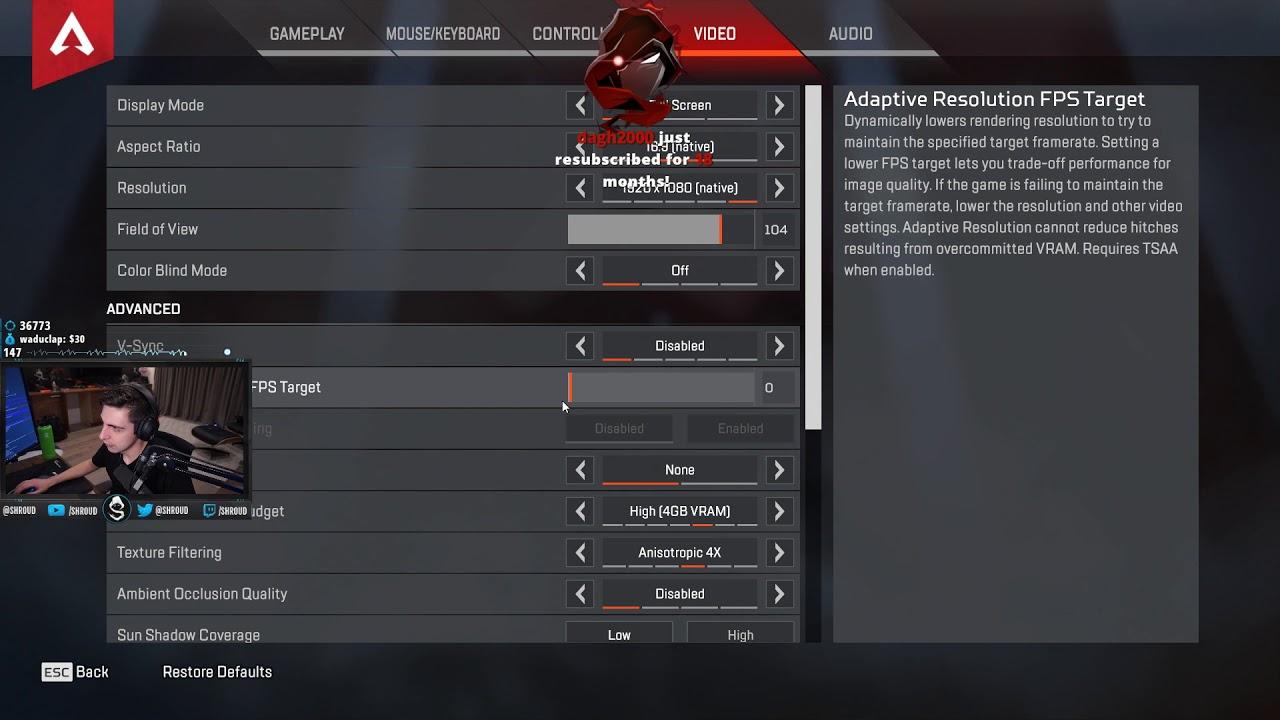 Shroud Apex Settings, Keybinds, Sensitivity & Setup   apex-settings