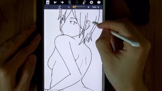 How to draw manga character with galaxy note 8.0 (sexy girl, female)// android: Character Maker app