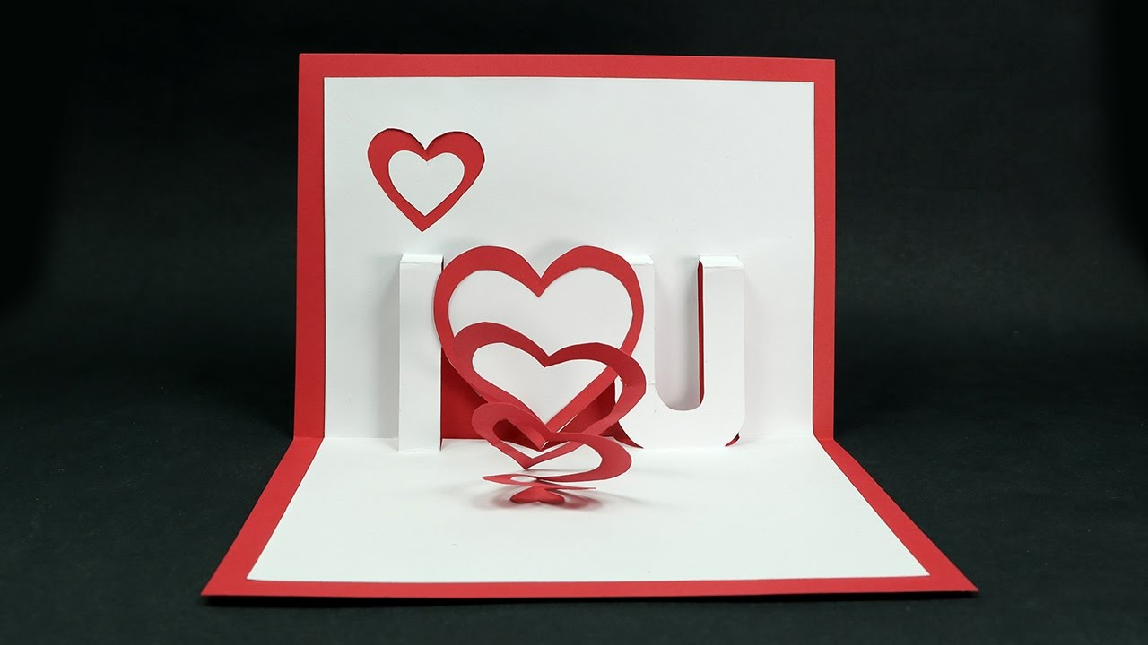 Handmade Valentineu0027s Day Card   DIY U0027I Love Youu0027 Pop Up Heart Love Card  Tutorial   YouTube