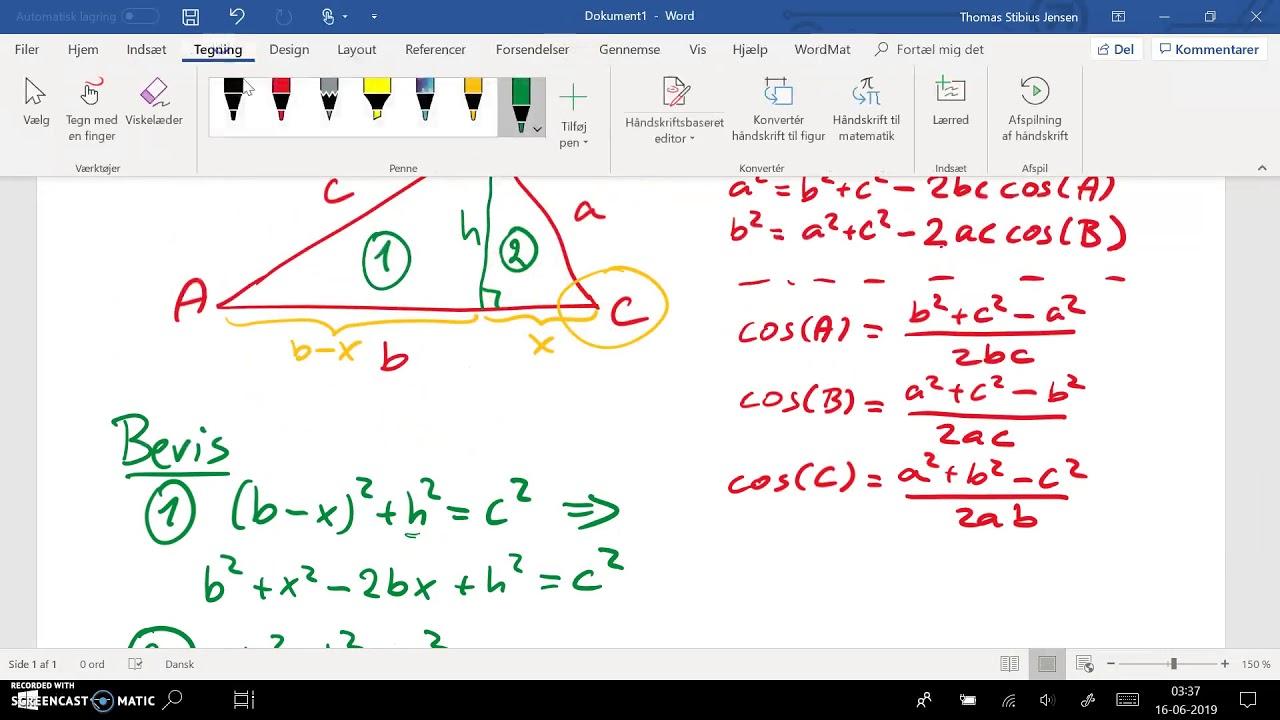 2ev spg 4 - 1cd spg 8 - del 1: cosinus relation - bevis