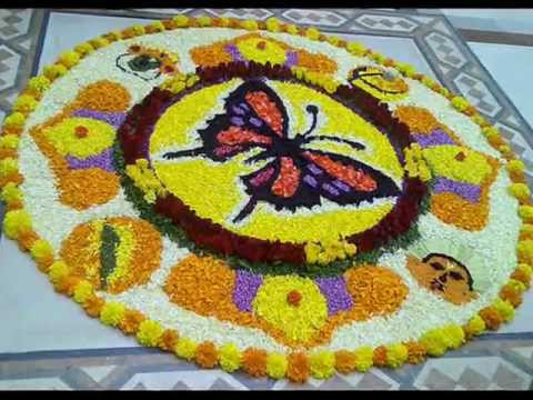 flower rangoli onam design