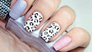 Textured Leopard Print Nail Art Tutorial | Леопардовый Маникюр песочный лак