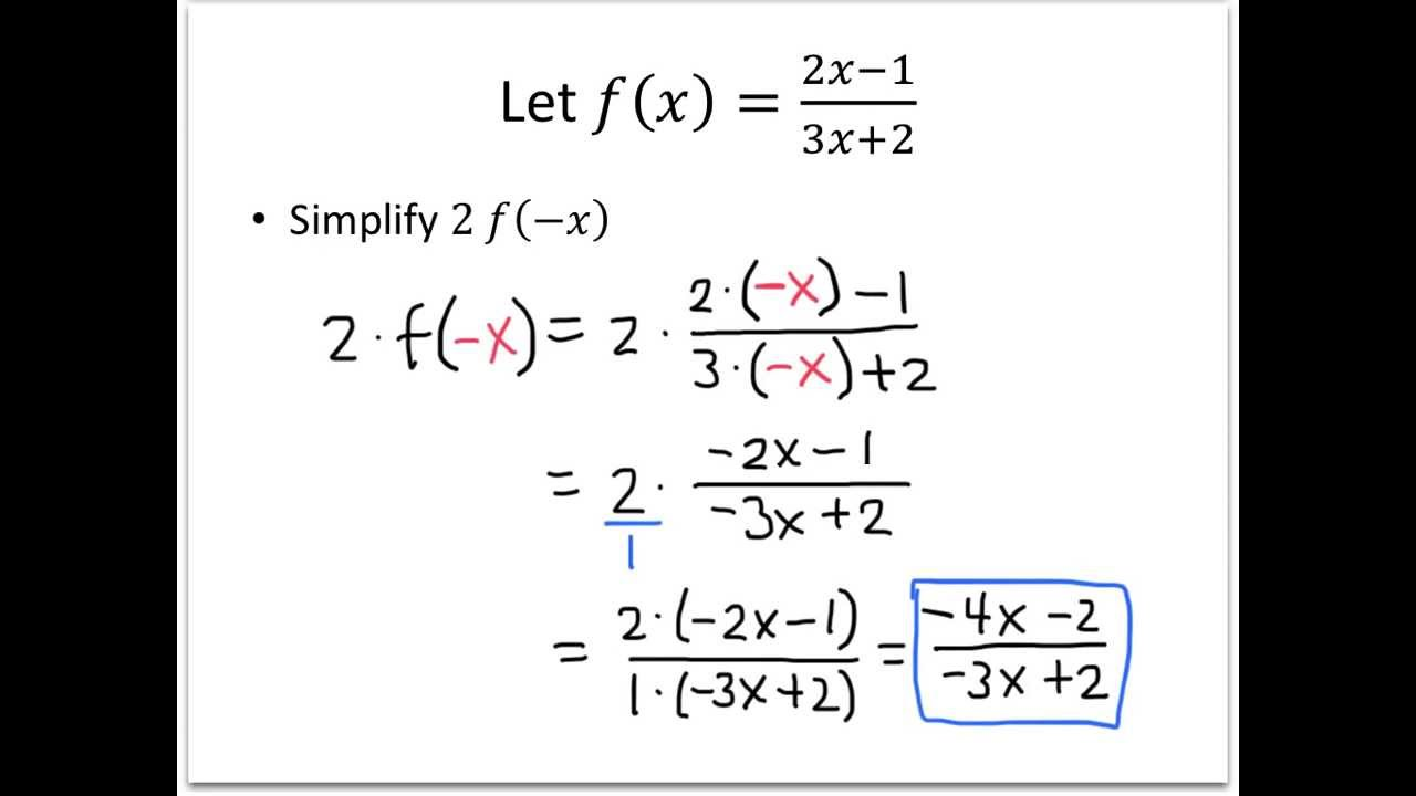 college algebra example evaluating function notation