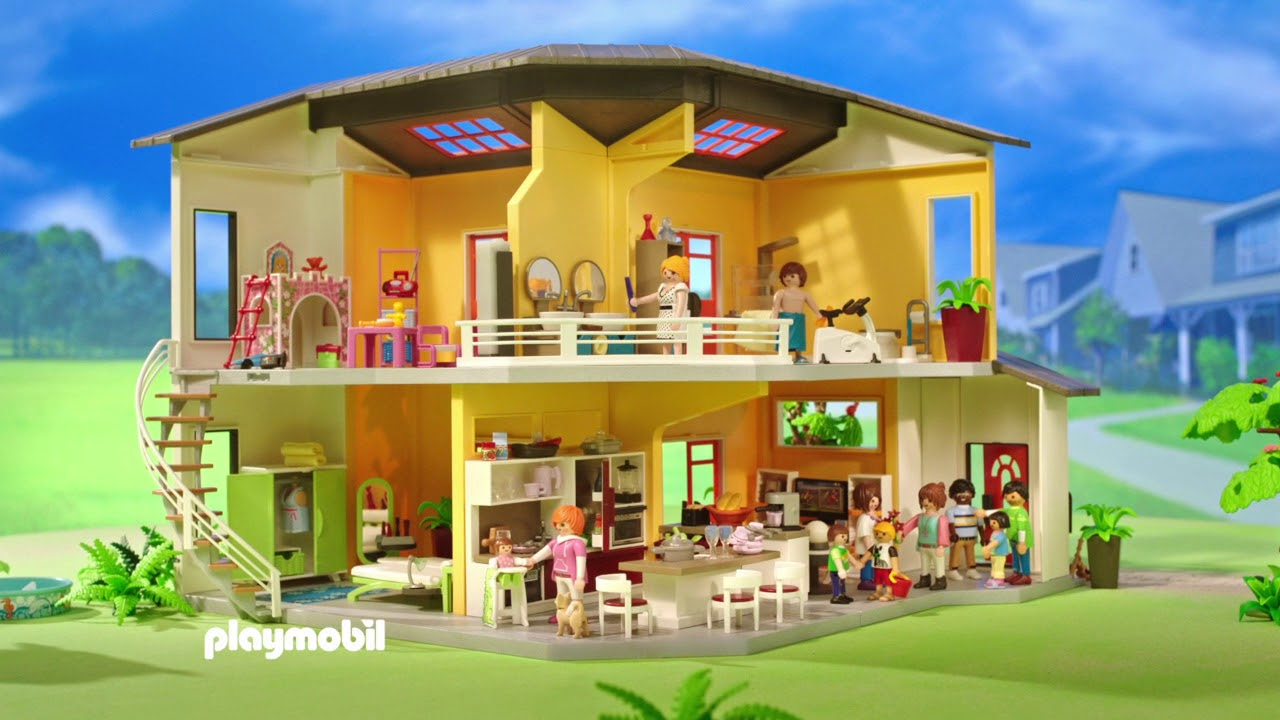 playmobil modern woonhuis youtube. Black Bedroom Furniture Sets. Home Design Ideas