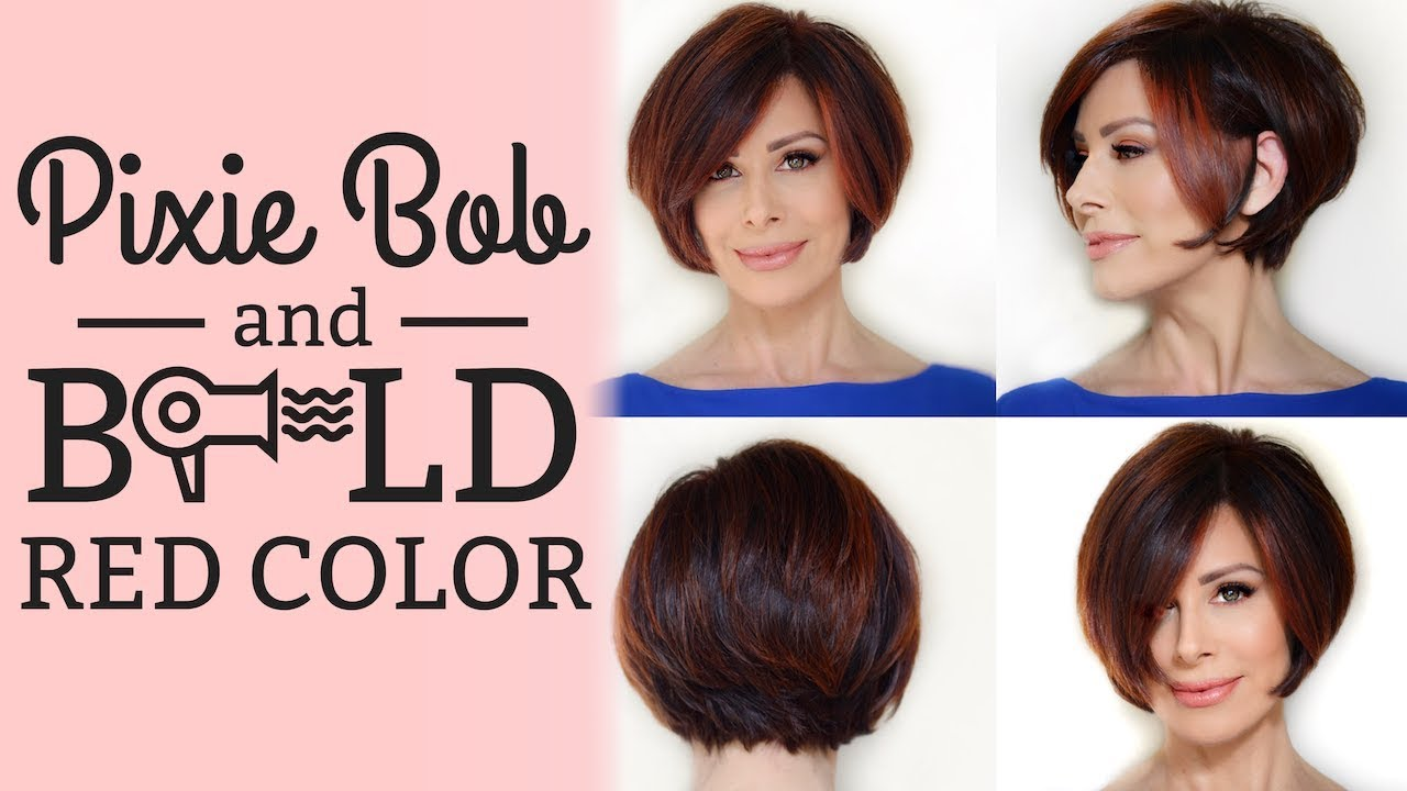 Pixie Bob Blowout Style Options Bold Red Color Dominique Sachse