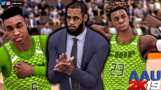 BRYCE & BRONNY JAMES JR AAU 2K19 Blue Chips Gameplay! LeBron Coaches The James Family!
