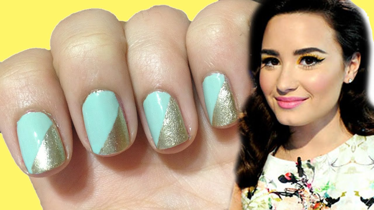 SUPER EASY DIAGONAL TAPE MANICURE ♥ Demi Lovato Inspired ! - YouTube