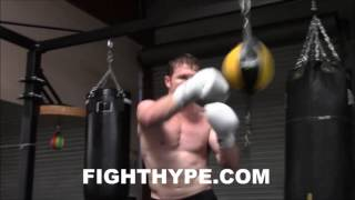 CANELO ALVAREZ LIGHTS UP THE DOUBLE END BAG; WORKS ON TIMING AND ACCURACY FOR LIAM SMITH CLASH