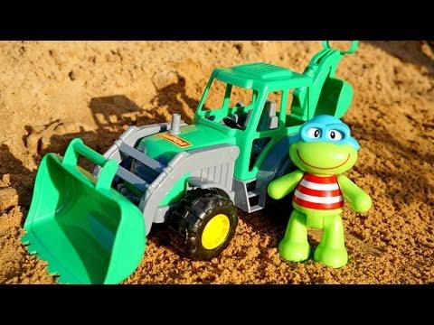 Развивающие мультики: Лягушонок - Игры с песком! Рабочие машины - Экскаватор.