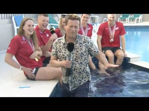 BBC presenter falls in swimming pool during live interview